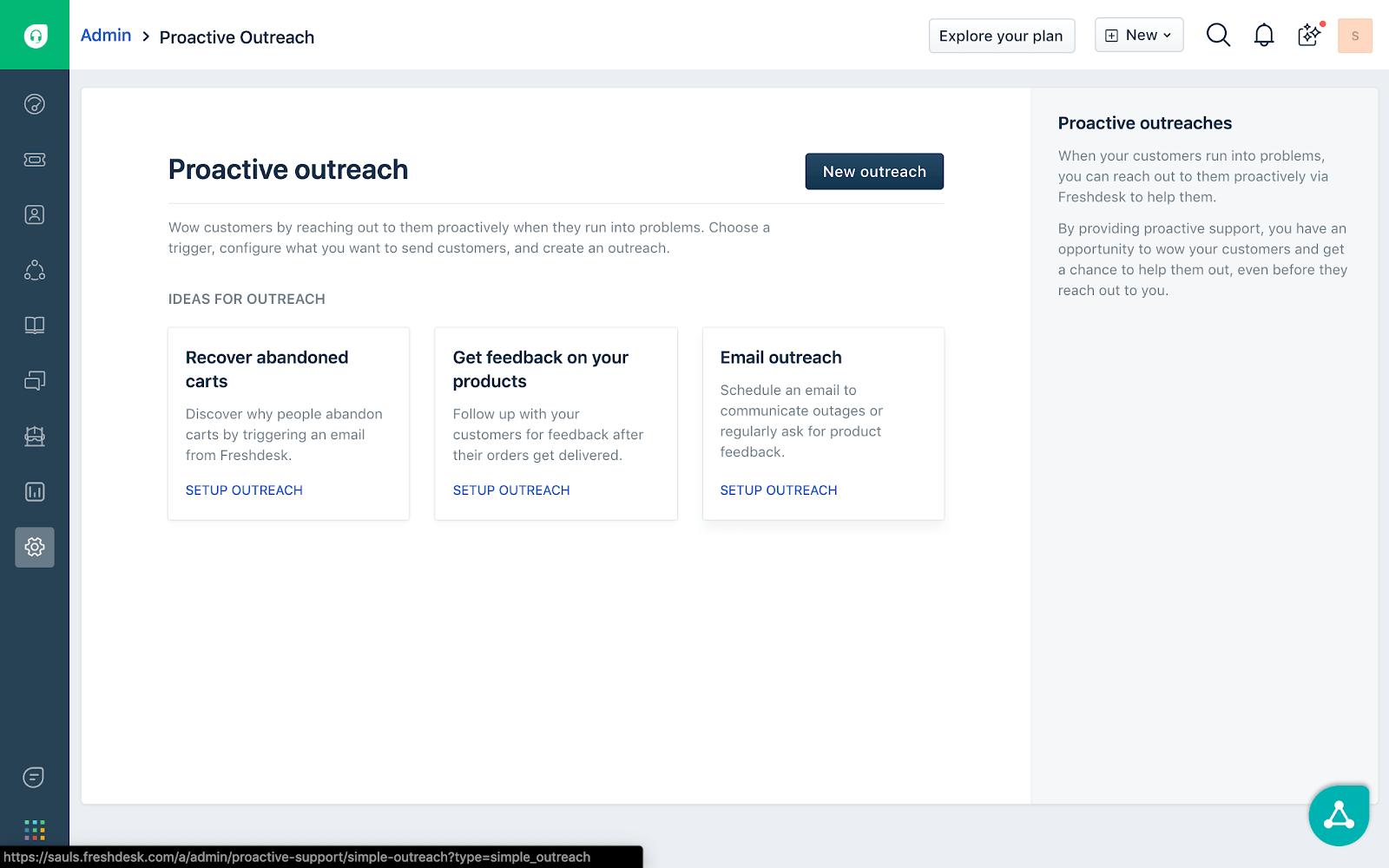 Freshdesk proactive outreach