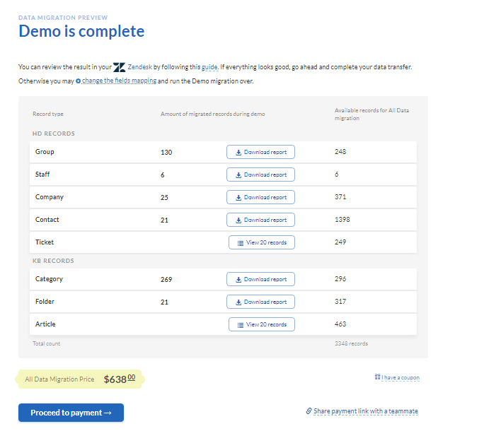 demo results migration wizard