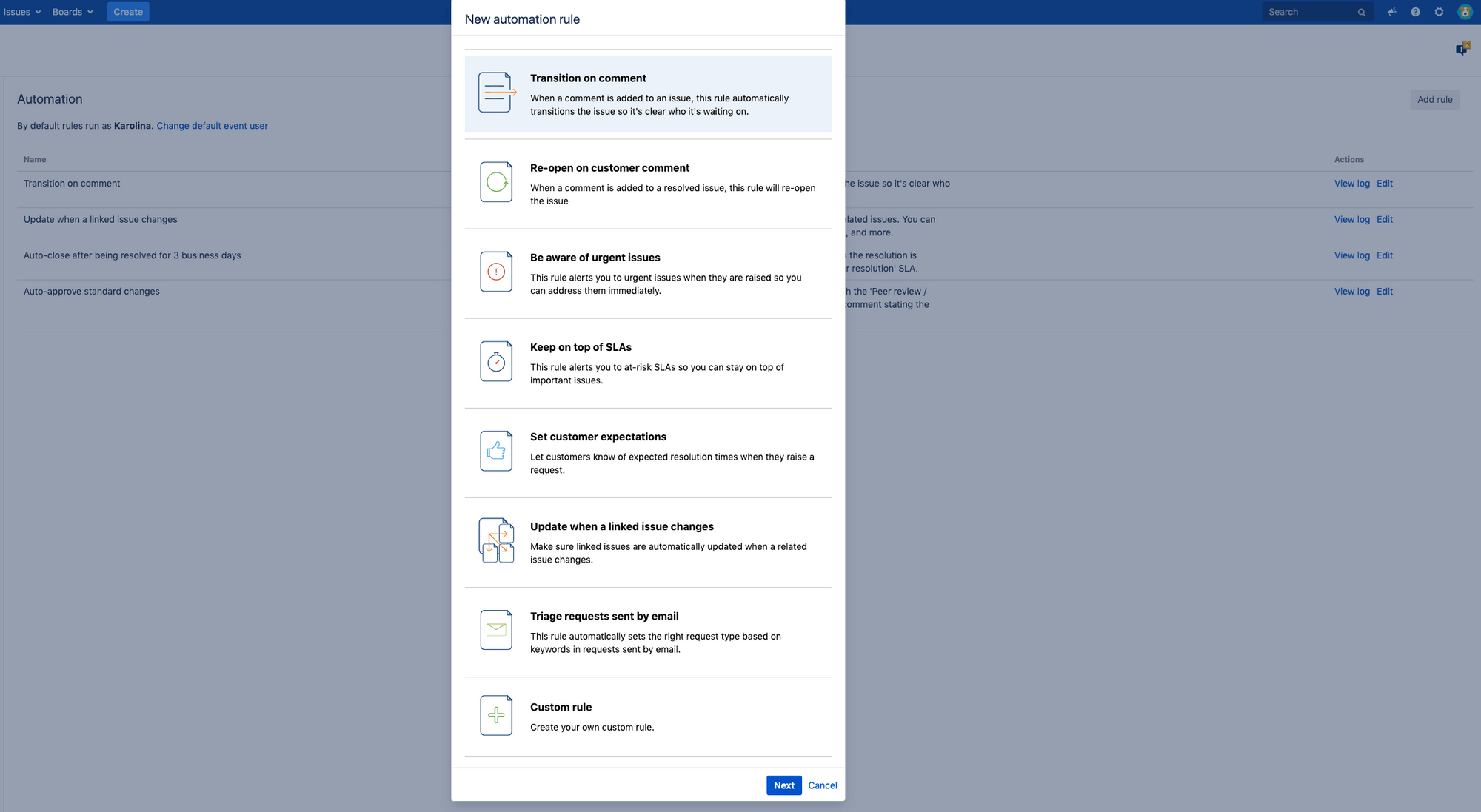 creating automation rules in jira service desk