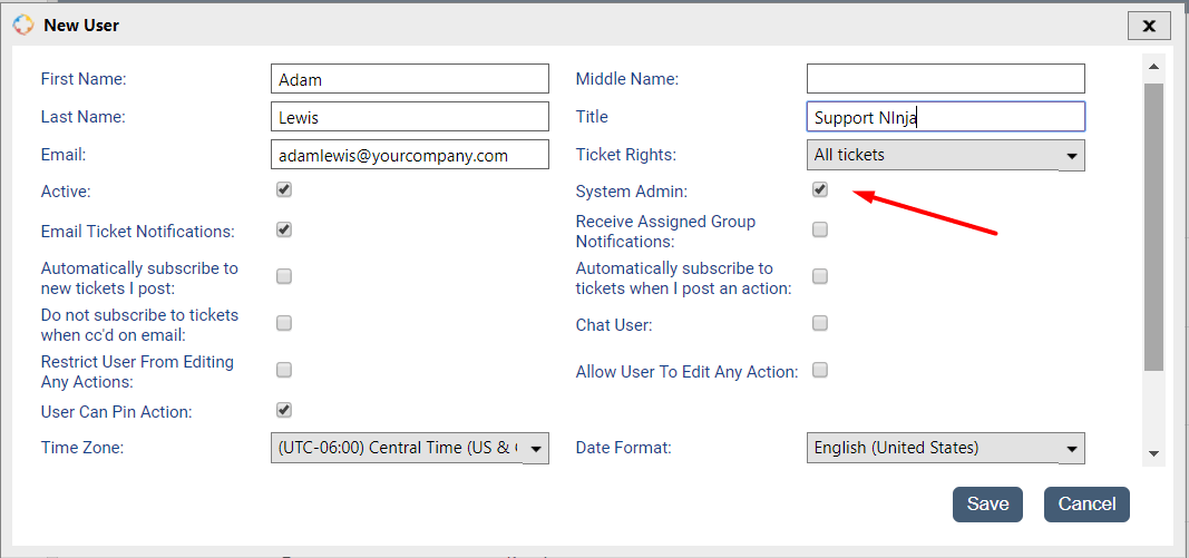 "Check the ""System Admin"" box when creating the Agent profile"