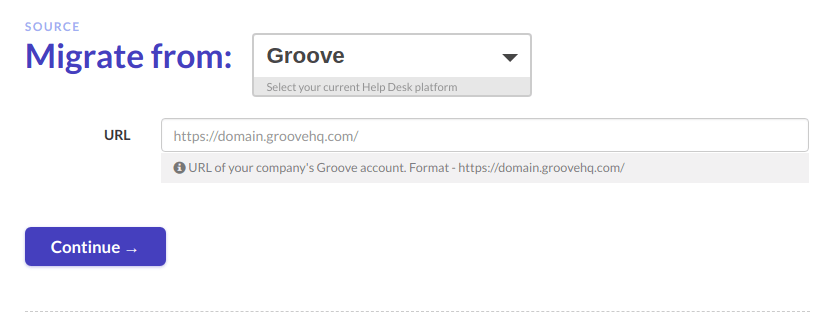Groove credentials for Migration Wizard