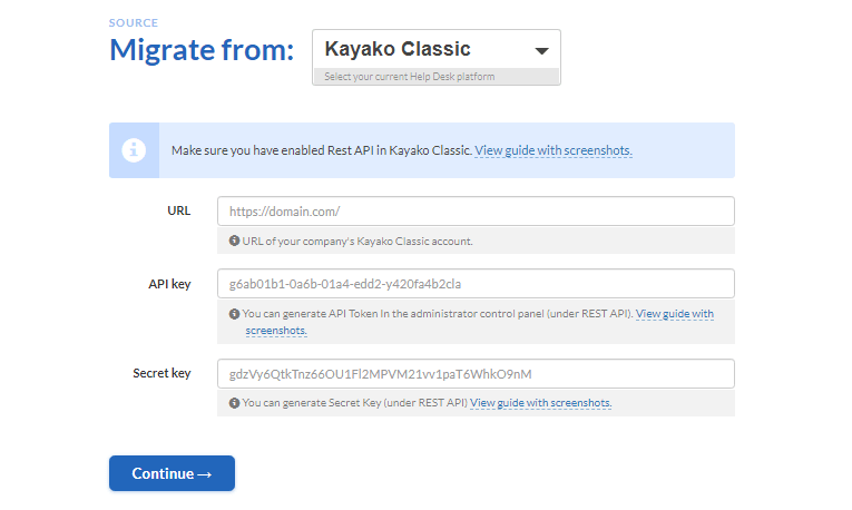 how to connect kayako classic to migration wizard