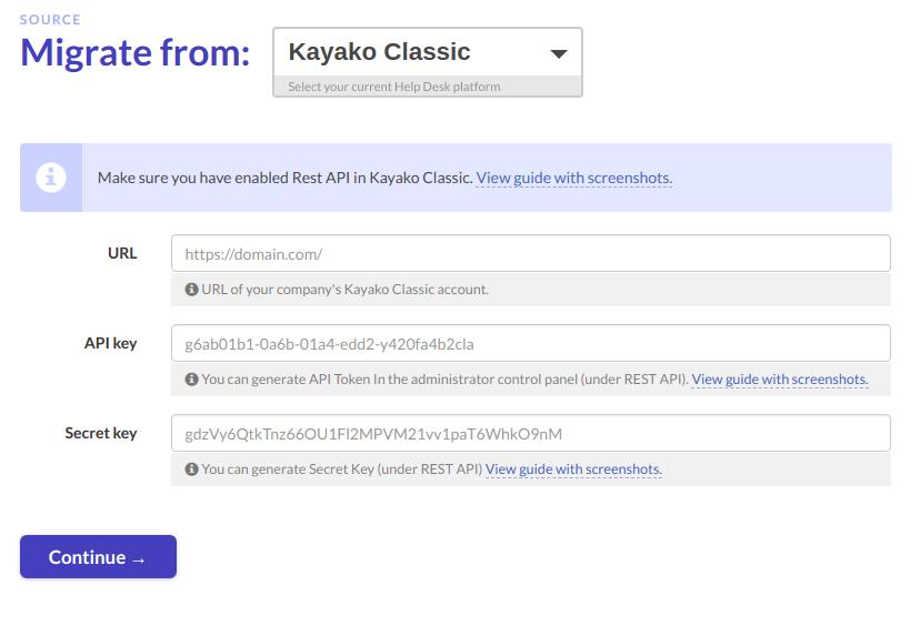 Kayako Classic migration credentials