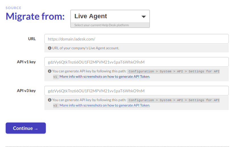 LiveAgent migration credentials
