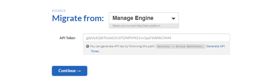 connecting manage engine to migration wizard