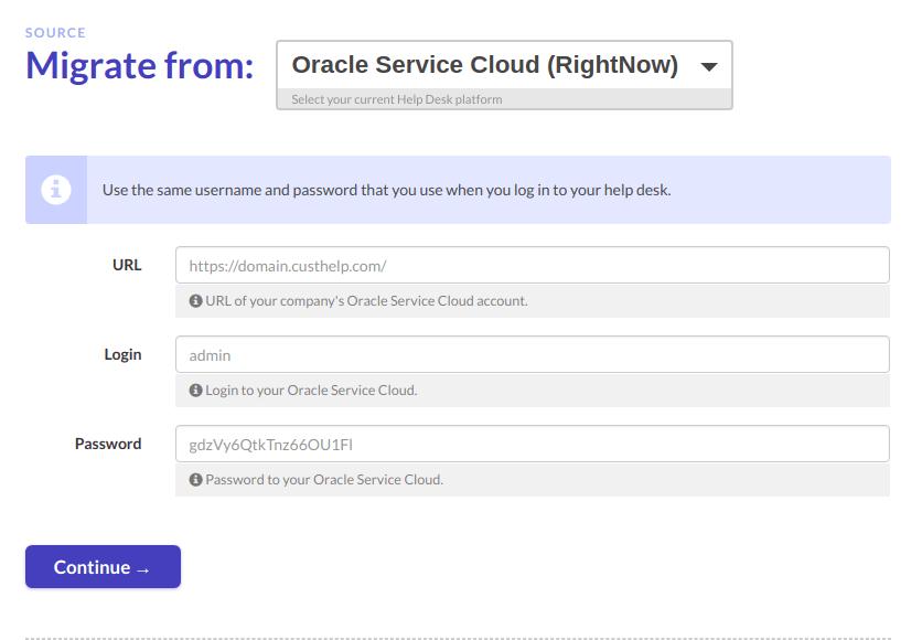 Oracle Service Cloud migration credentials