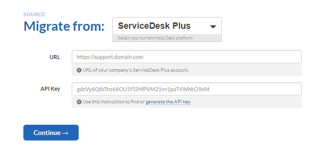 how to connect servicedesk plus to migration wizard