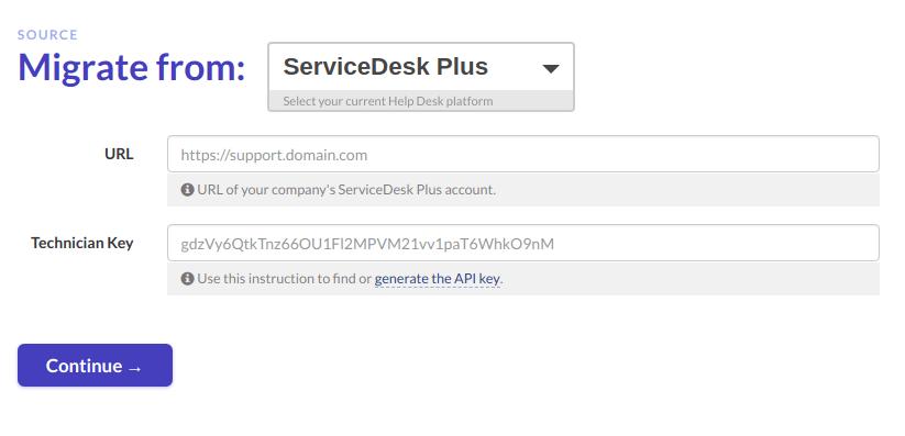ServiceDesk Plus migration credentials