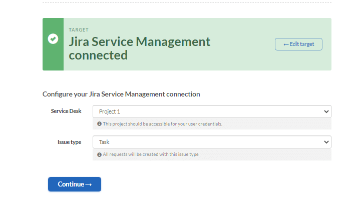 jira service management configuring the connection