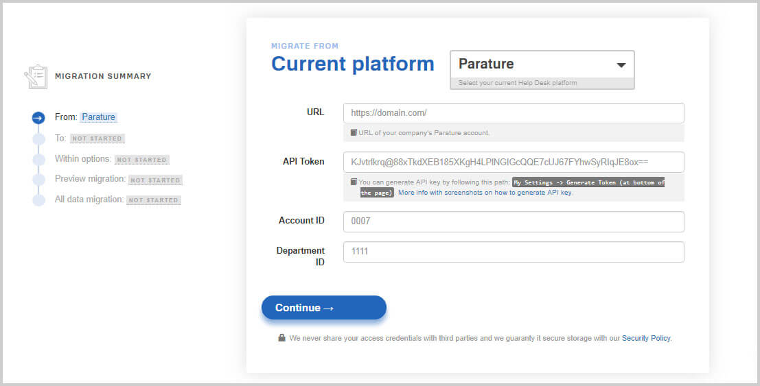 Drop support for parature: how to migrate