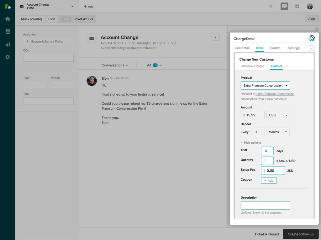ChargeDesk for Zendesk Screenshot 2