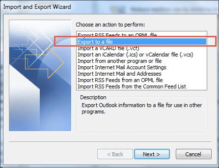 outlook export