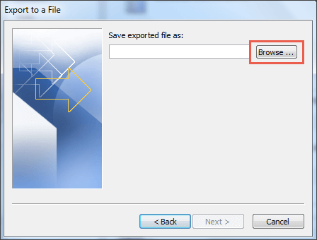 outlook save exported file