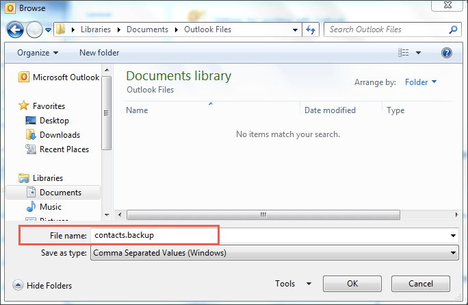 saving contact file outlook