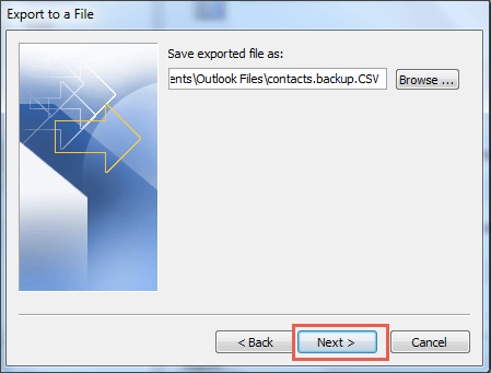 saving exported file in outlook