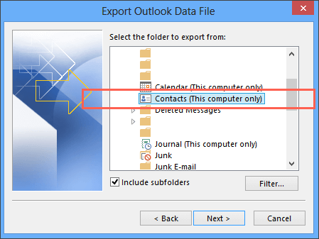 Export contacts from Outlook 2013 to a CSV file