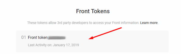 Find your Front Tokens