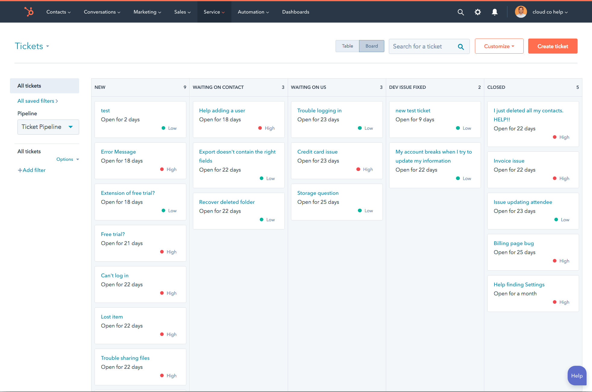 hubspot service hub interface