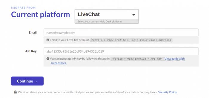 Find LiveChat API