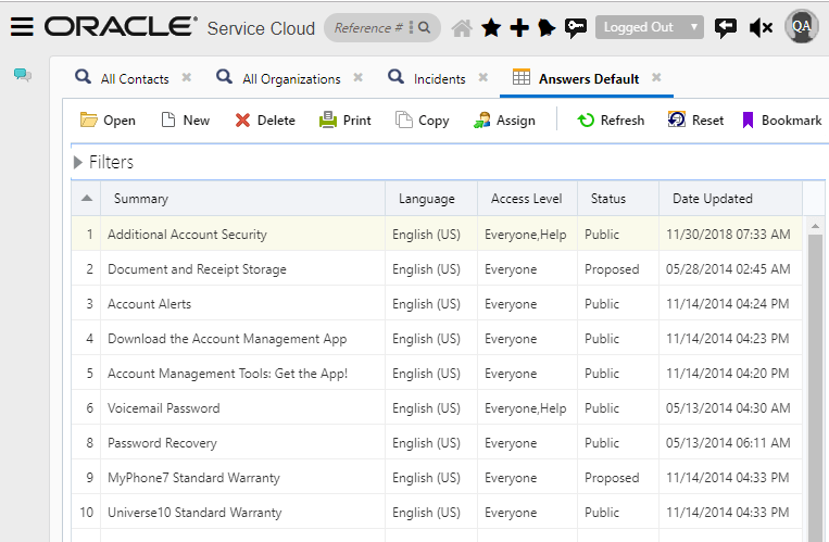 oracle service cloud interface