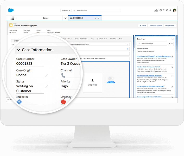 salesforce service cloud interface
