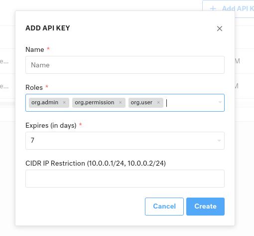 Creating API Key in Kustomer Screenshot