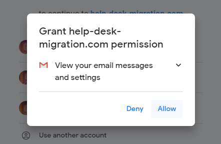 Click Allow to connect your Gmail account