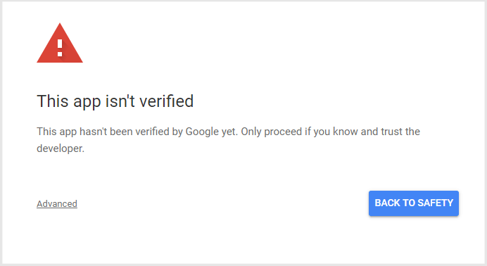 App isn't verified by Google