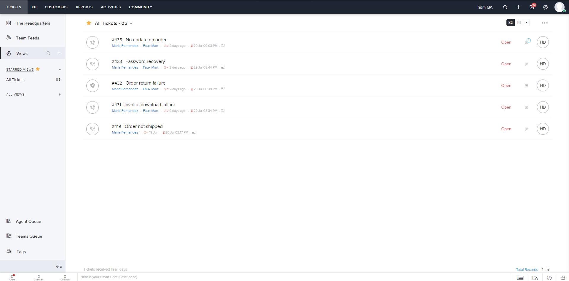 Zoho Desk UI