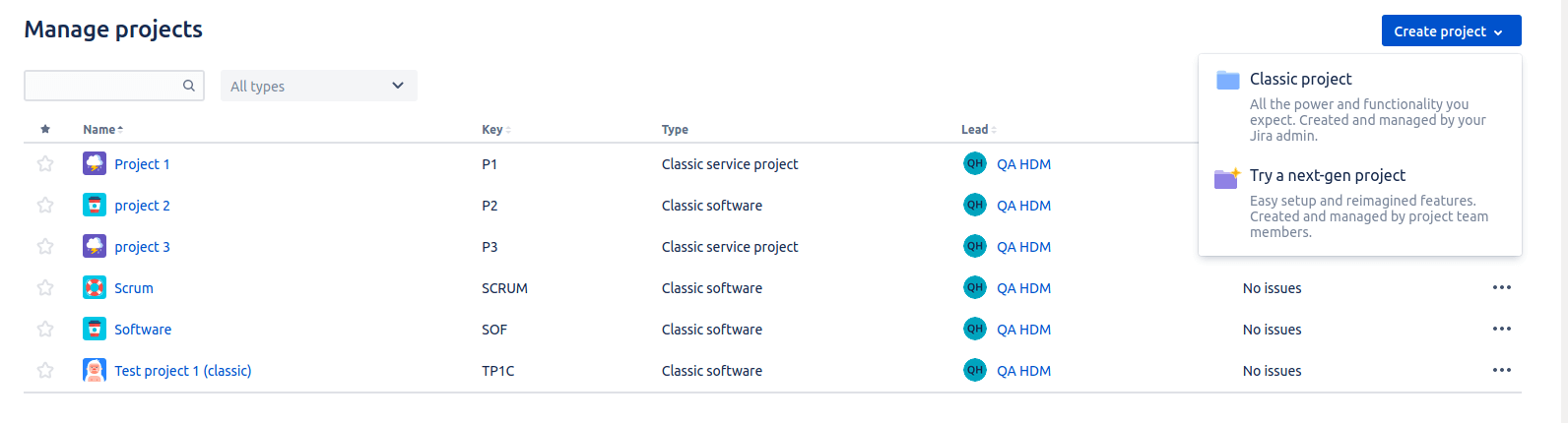 creating classic project in jira service management