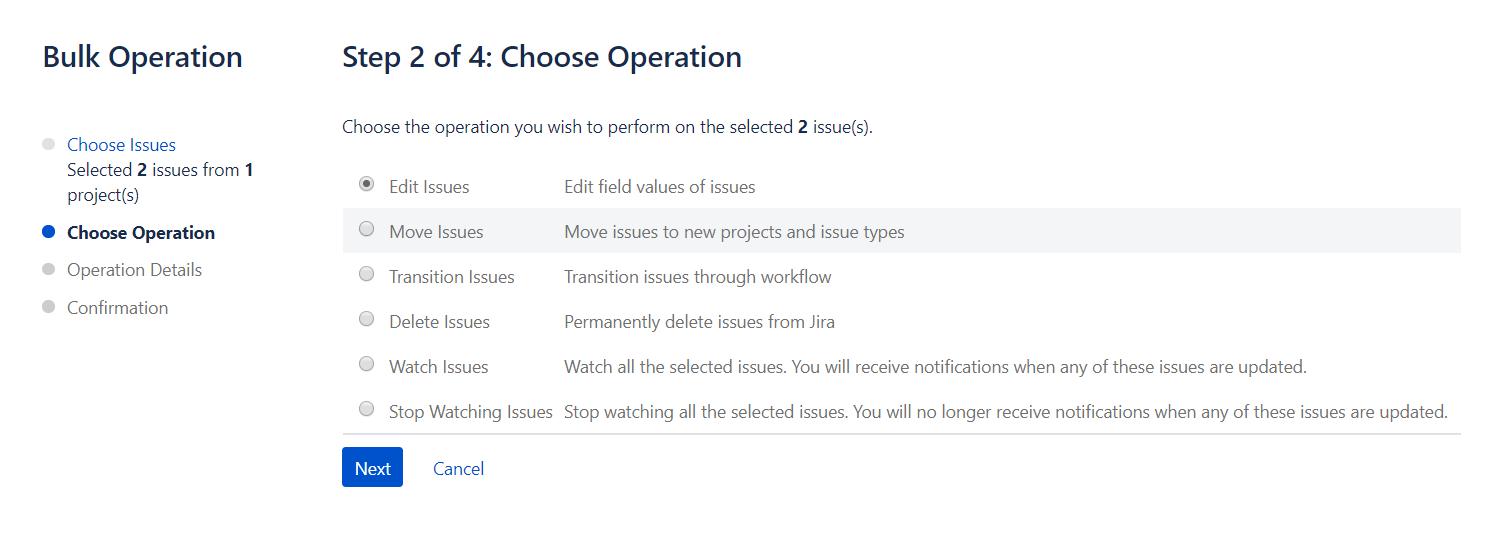 Choose Operation Jira