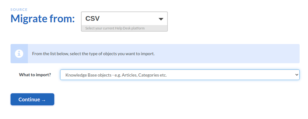 Migrate from CSV KB Screenshot