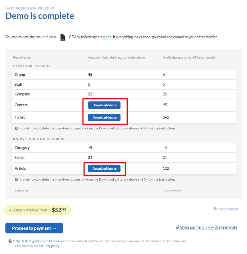 CSV Demo Result