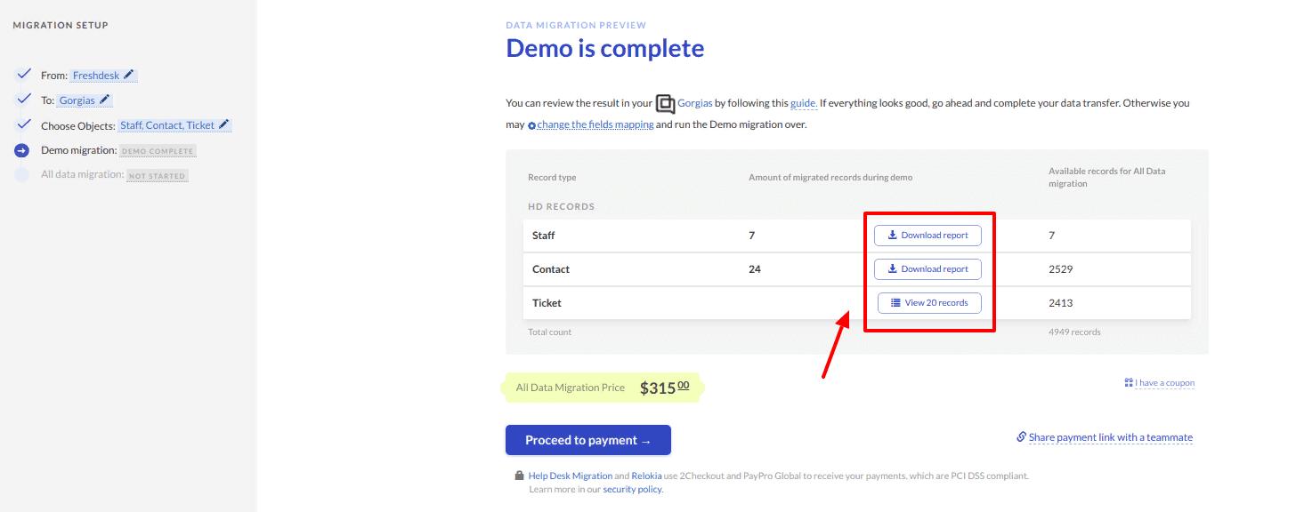 how to check the results of demo migration to gorgias