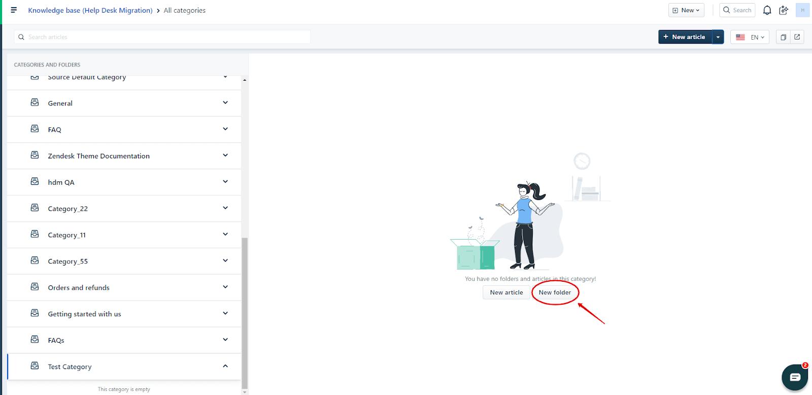 Creating a folder in Freshdesk KB