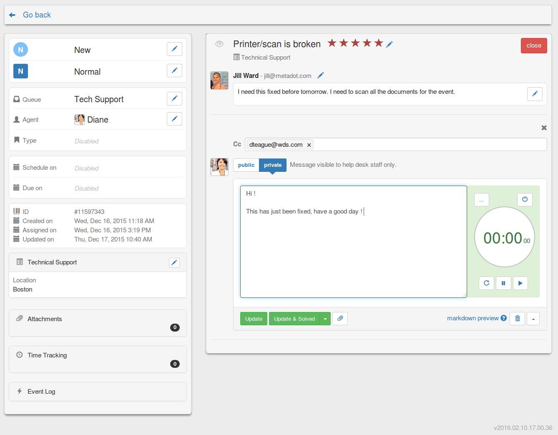 Mojo Helpdesk ticket