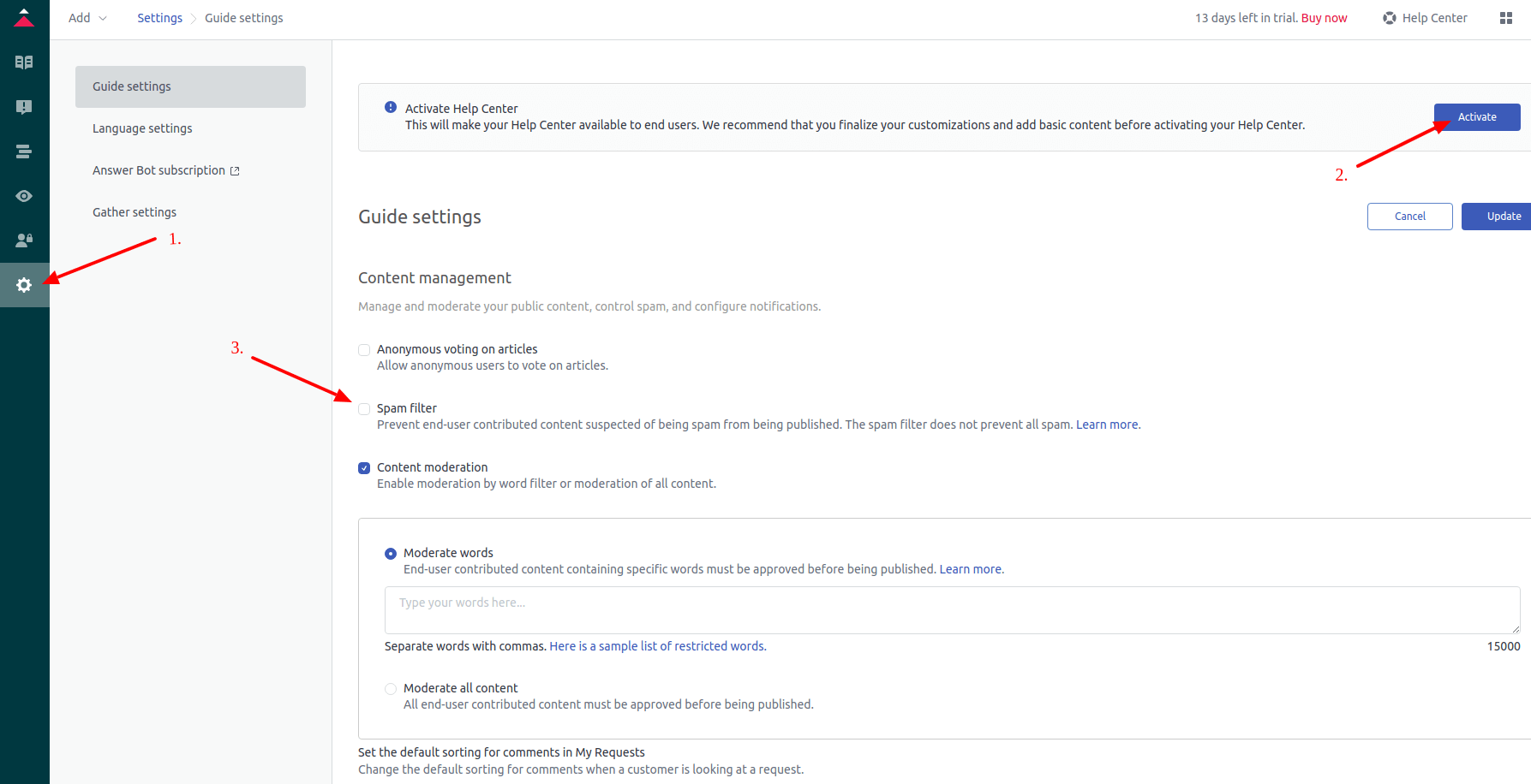 Activating Zendesk Guide