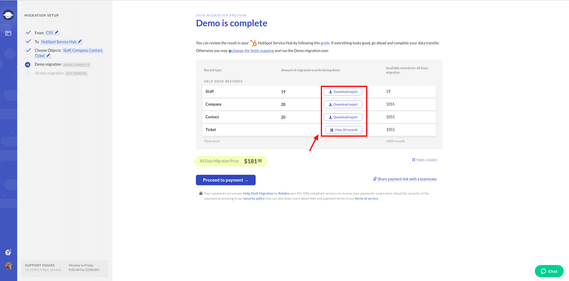 how to check the results of demo migration in hubspot service hub