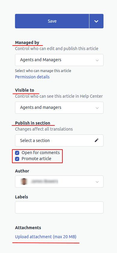 Zendesk Guide article settings