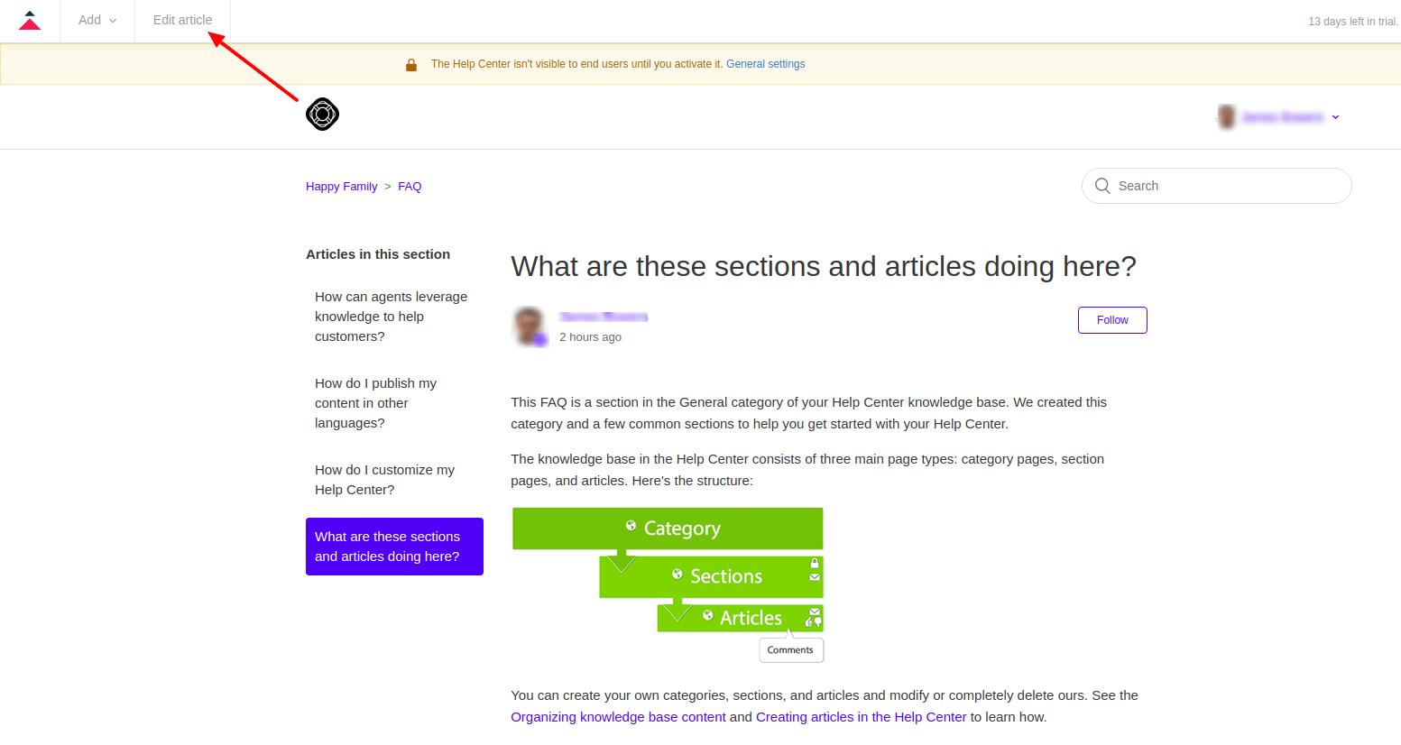 Edit article in Zendesk Guide