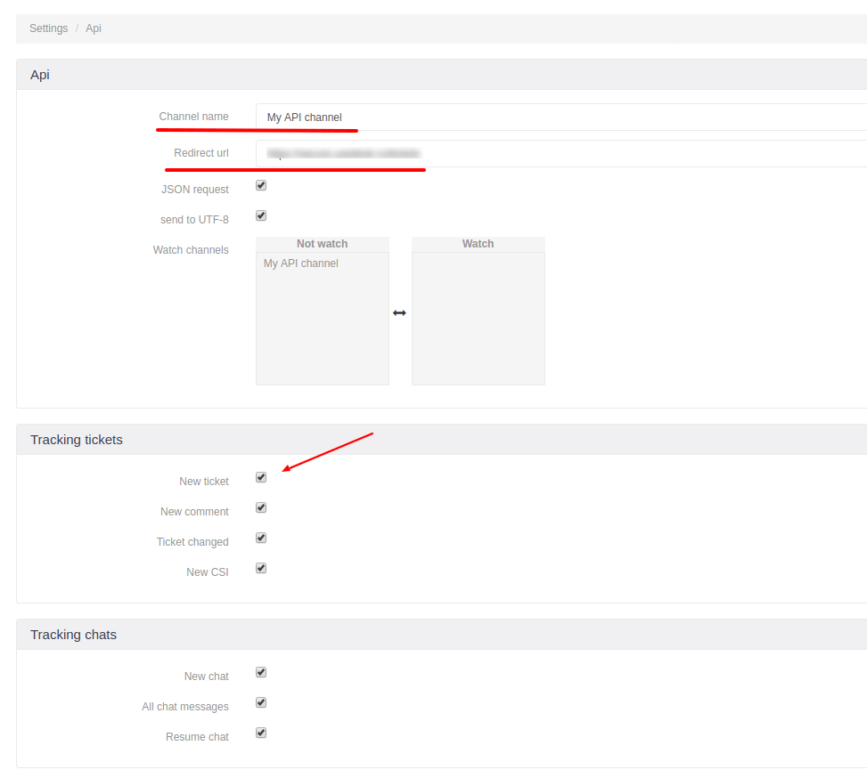 Creating API channel