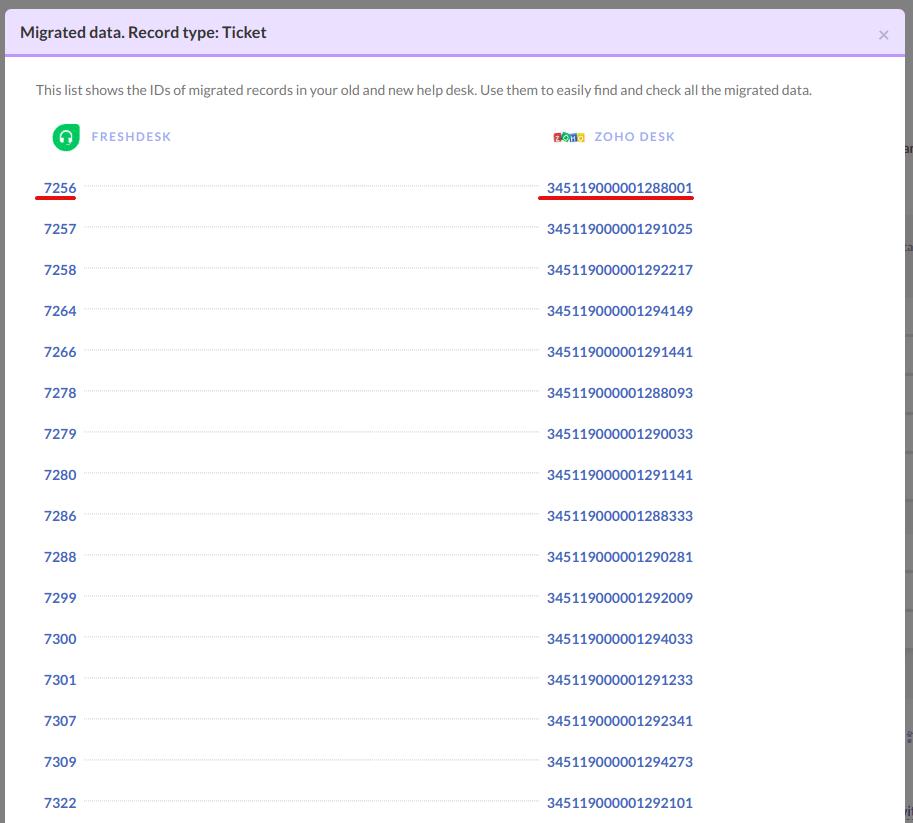 list of ids after demo migration to zoho desk