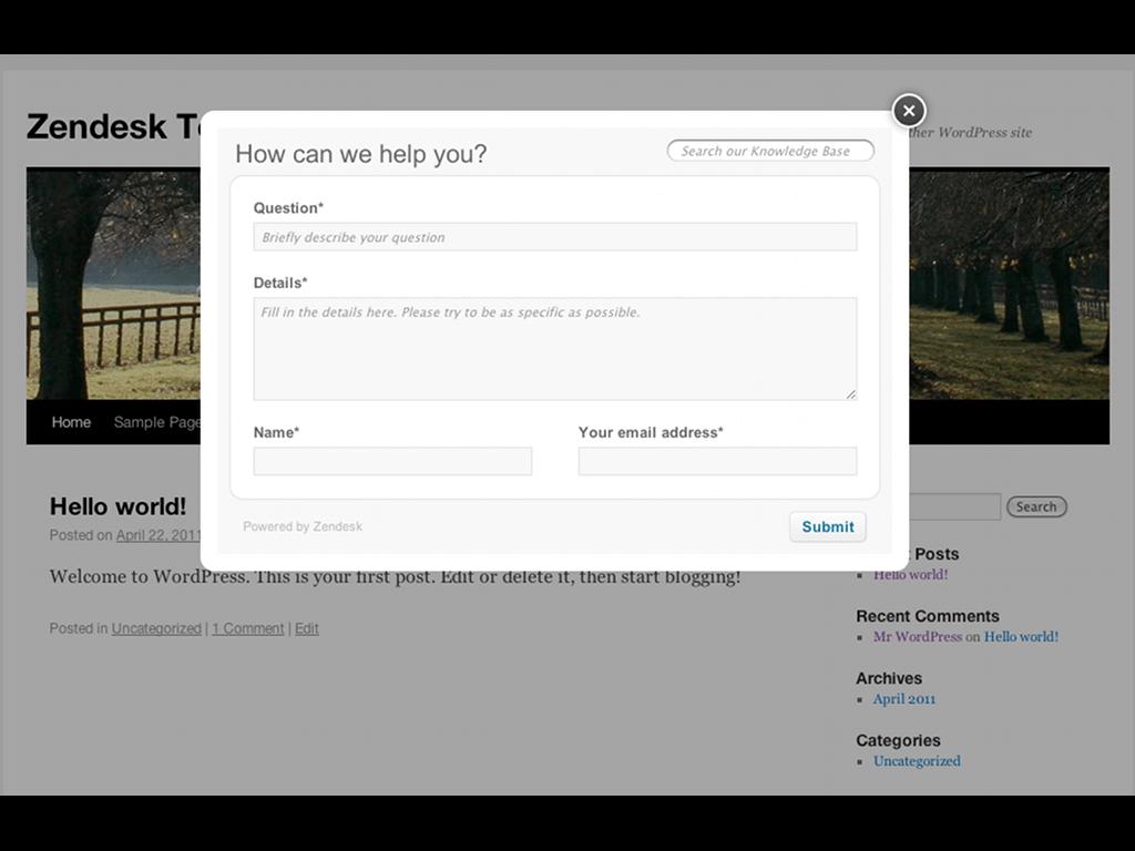 Zendesk Contact form for WordPress