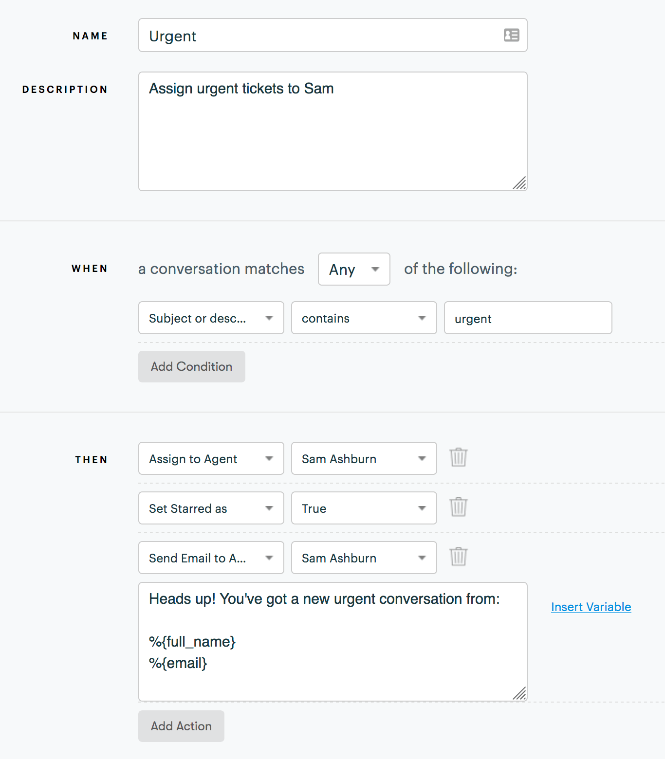 GrooveHQ automation rules