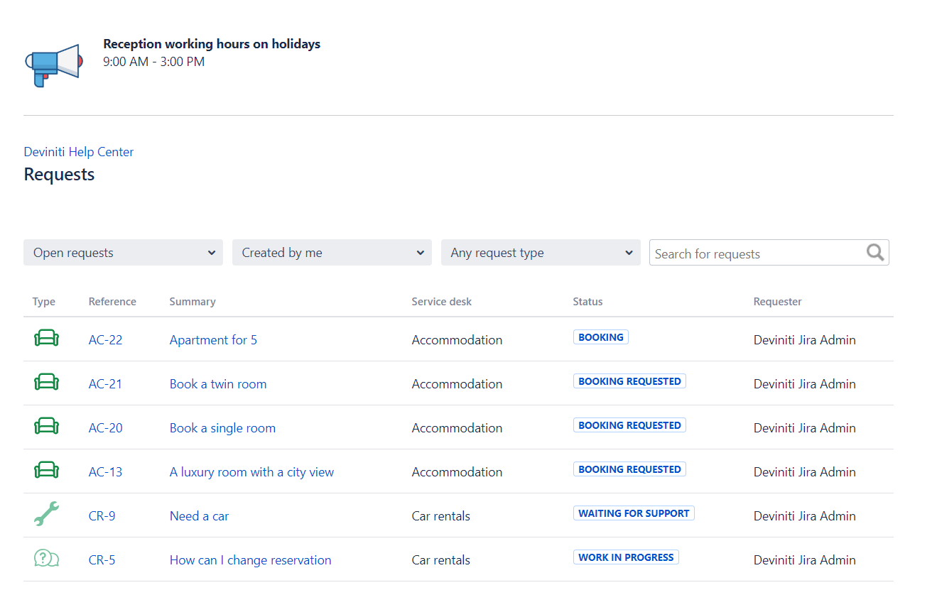 Jira Server requests page