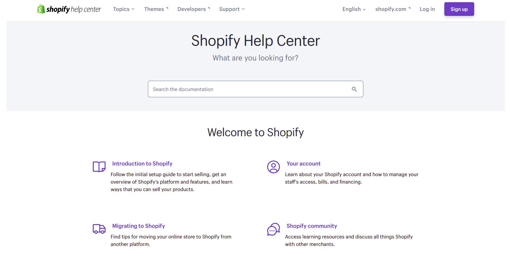Shopify help center