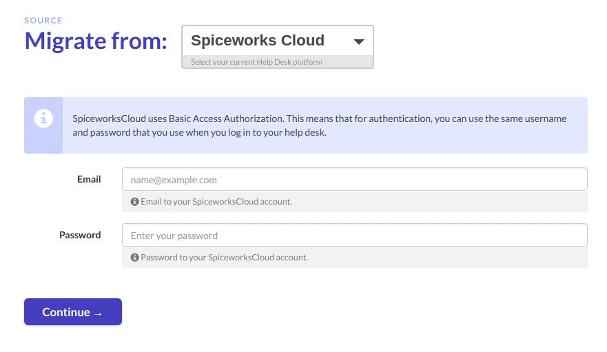 Spiceworks Cloud data export setup