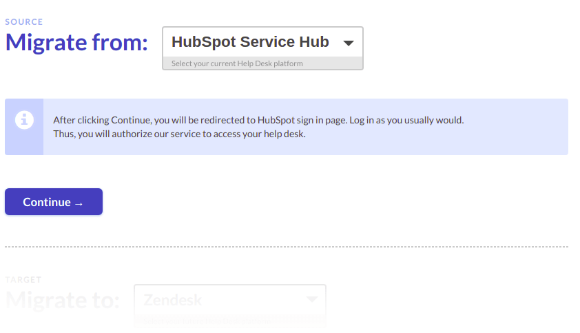 Connecting hubspot to migration wizard