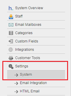 System settings in HelpSpot