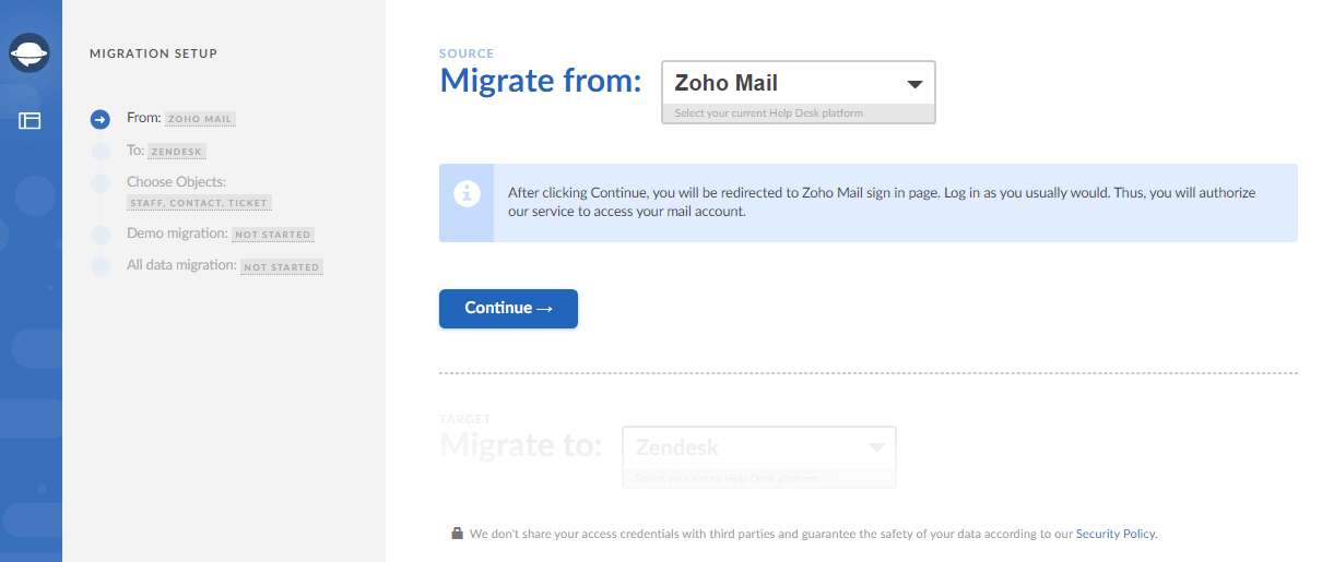 Set up Zoho mail export